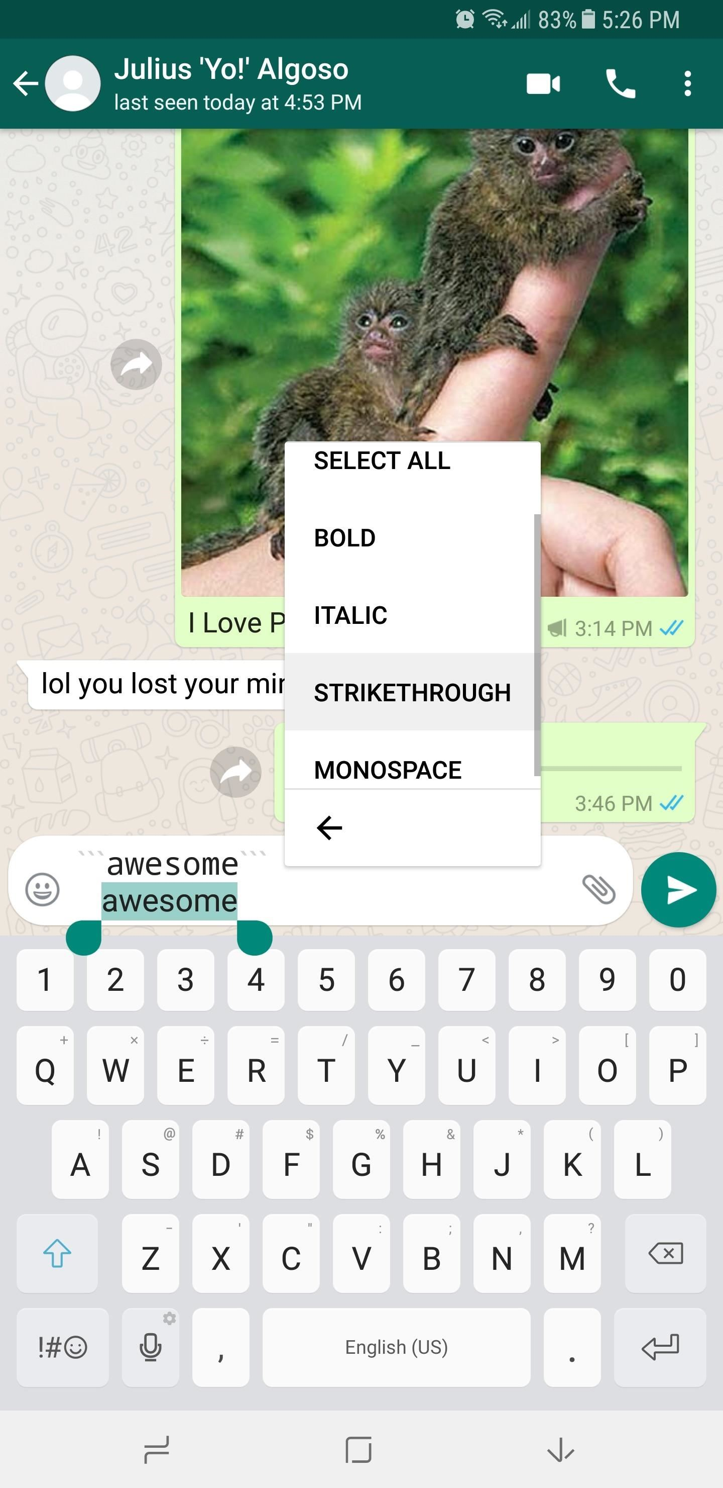 Whatsapp 101 how to format your messages with italic bold or as you can see formatting text messages is extremely easy in whatsapp but before you start typing all your messages in bold wed like to hear your altavistaventures Choice Image