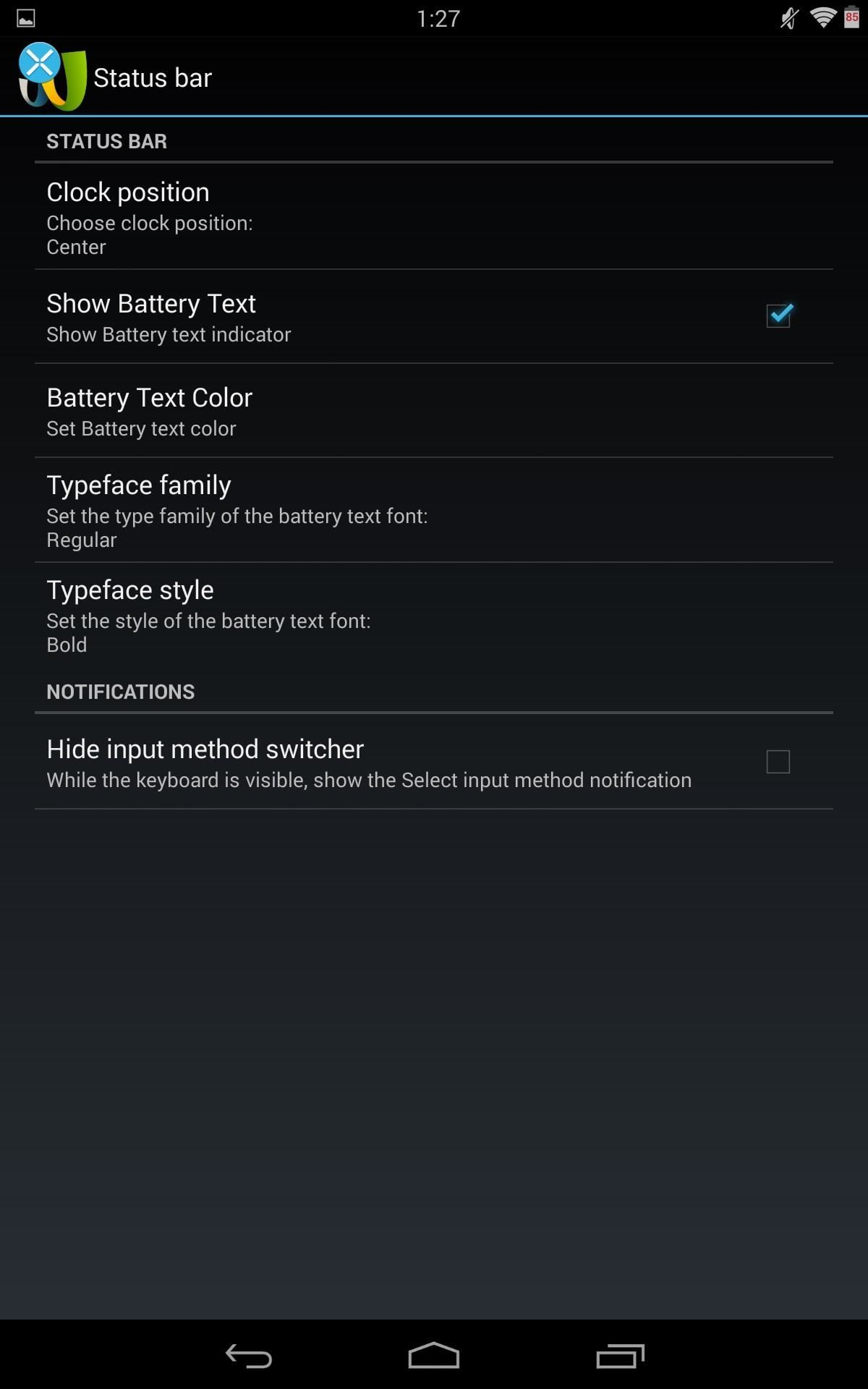 How to Make the Status Bar's Battery Percentage Text Easier to Read on Your Nexus 7