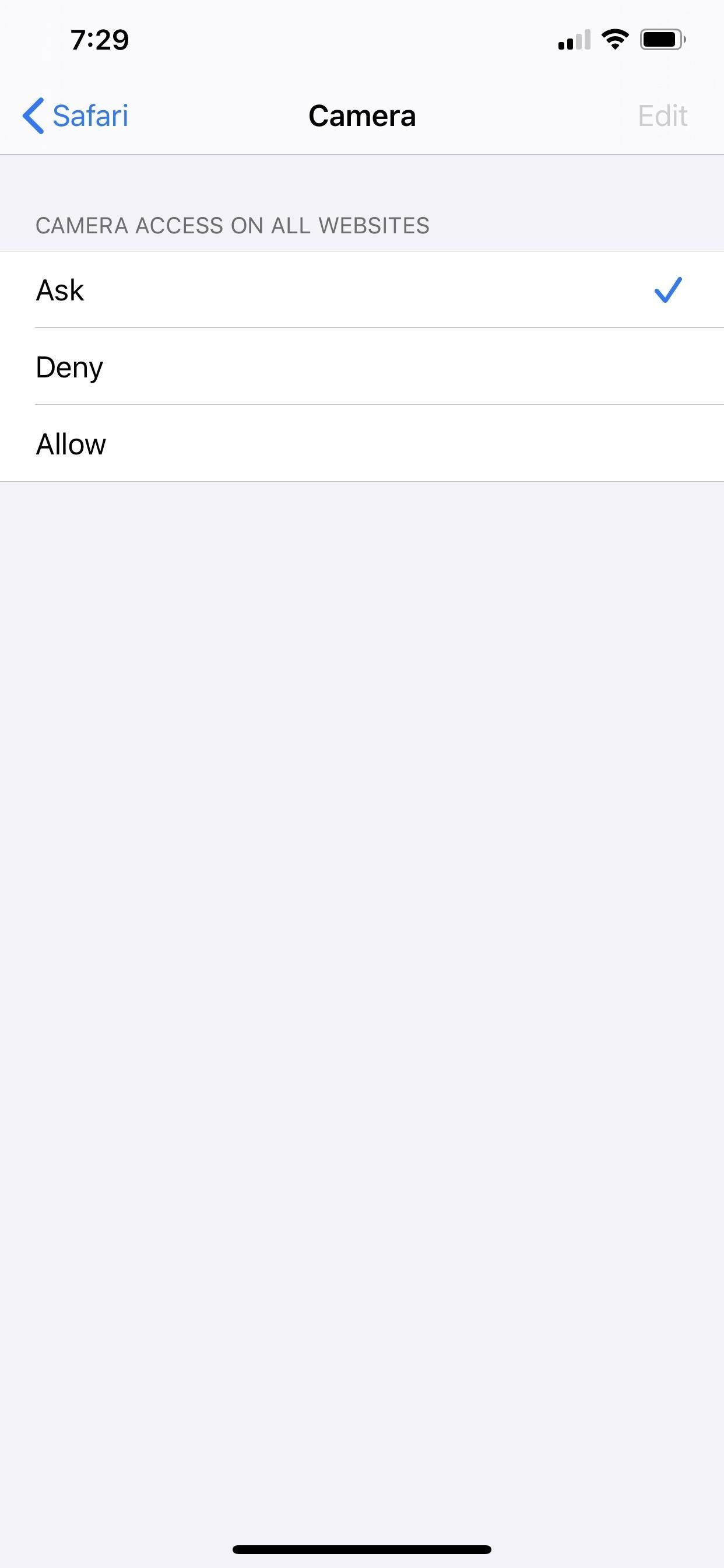 Adjusting Camera, Microphone, and Location Permissions for Certain Websites in the iOS 13 Safari