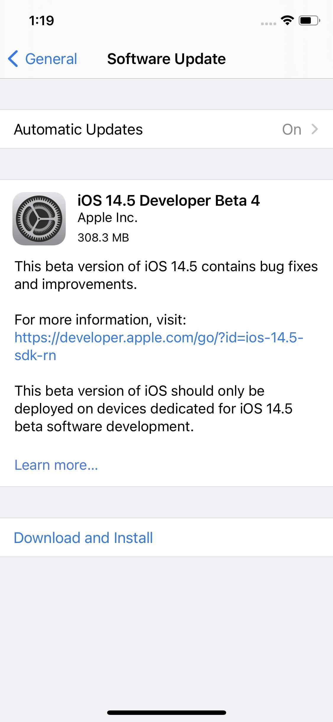 Apple Releases iOS 14.5 Developer Beta 4 for iPhone