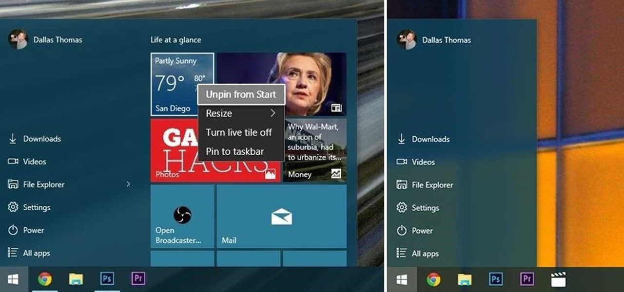 Remove Live Tiles & Resize the Start Menu in Windows 10