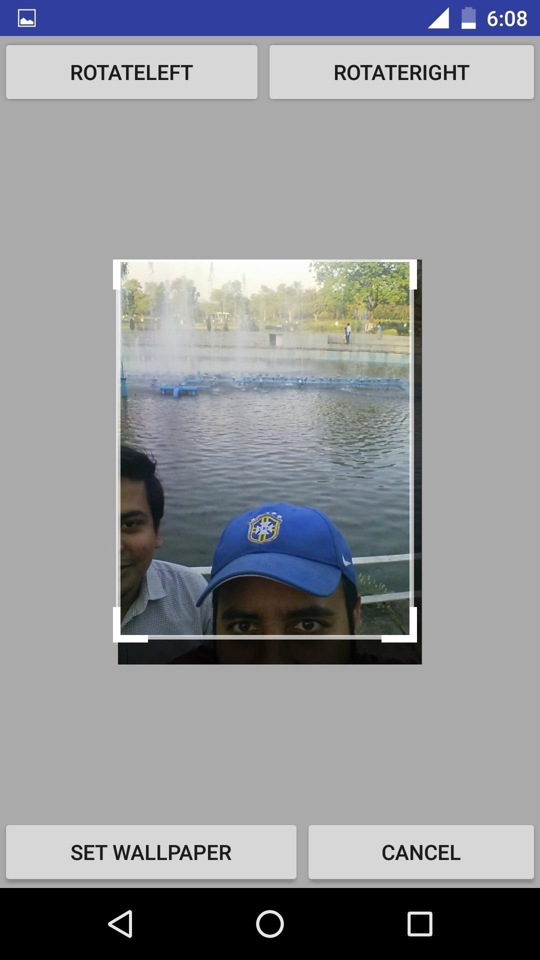 if crop is on you can crop the selfieotherwise it directly sets as wallpaper