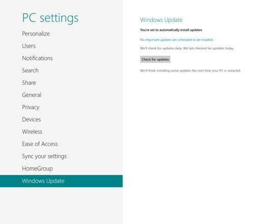 How to Find and Install New System or App Updates in Windows 8
