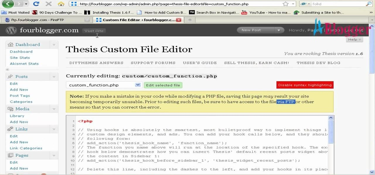 thesis theme custom css font size
