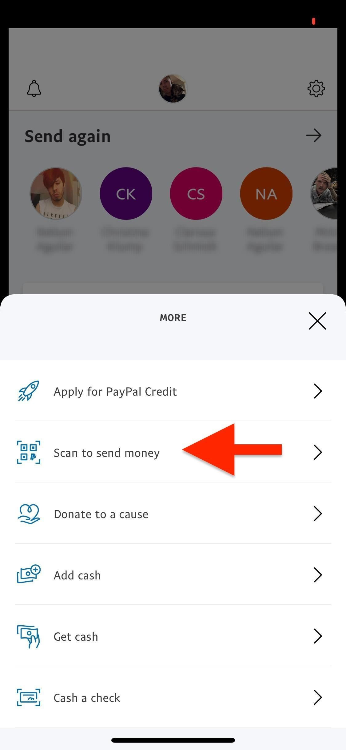 This allows you to share PayPal and scan QR codes for faster transactions when receiving or sending money