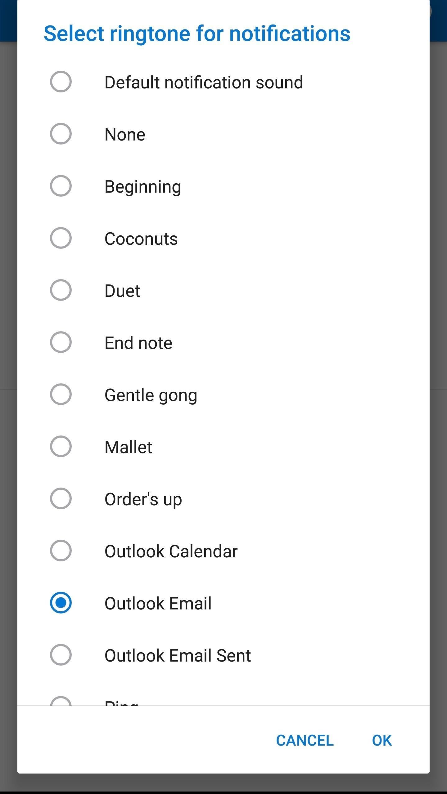 how to change outlook sounds