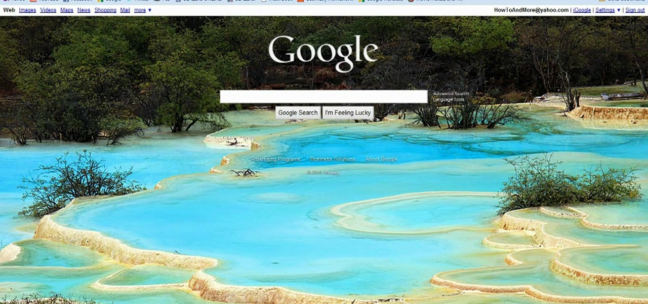 how to personalize google search with a custom background image