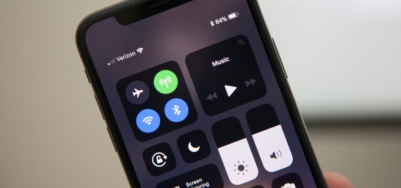 Open the Control Center on the iPhone X, XS, XS Max & XR