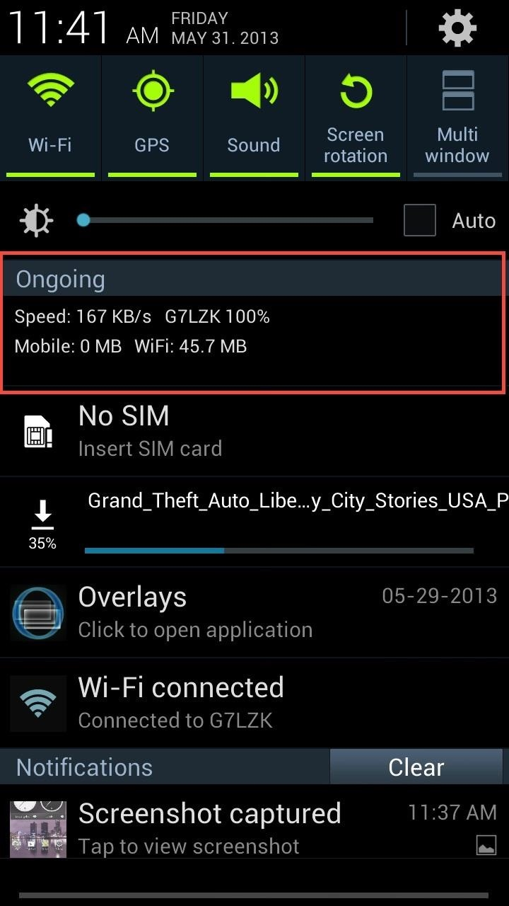 How to Monitor Cellular & Wi-Fi Data Speeds from Your Samsung Galaxy Note 2's Status Bar or Notification Tray