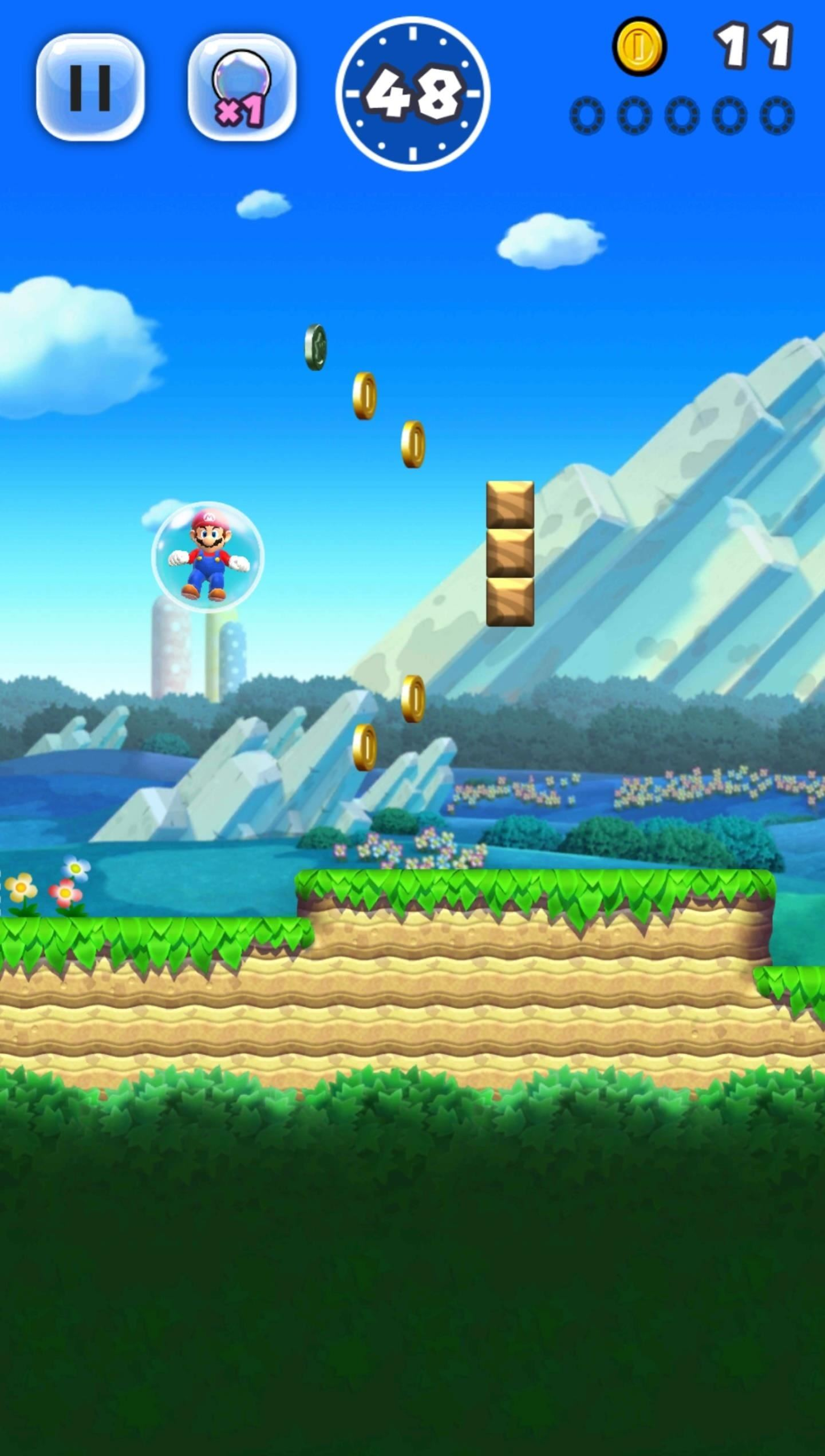 Super Mario Run 101: How to Use the Bubble at Any Time to Go Back & Collect Items