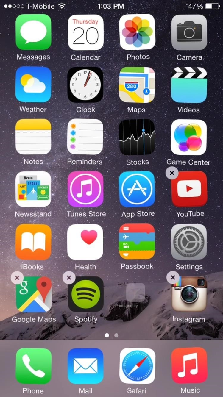 Ios 8 glitch lets you hide stock apps without jailbreaking for Iphone picture apps free