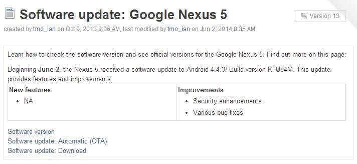 Android Update—4.4.3 to Begin Hitting Nexus Devices Today