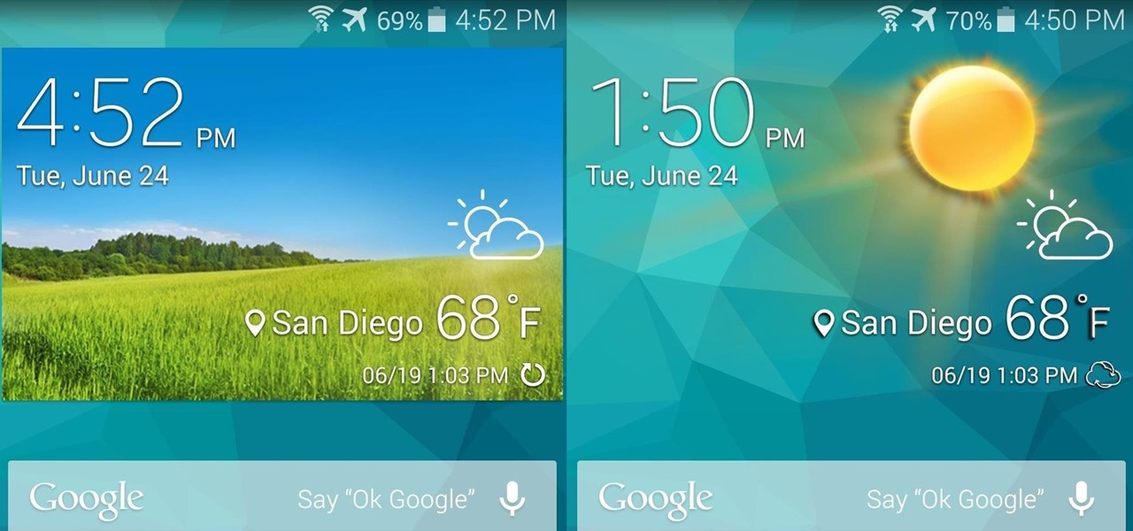 How To Remove The Grassy Background On Your Galaxy S5s Stock Weather Widget See More Wallpaper