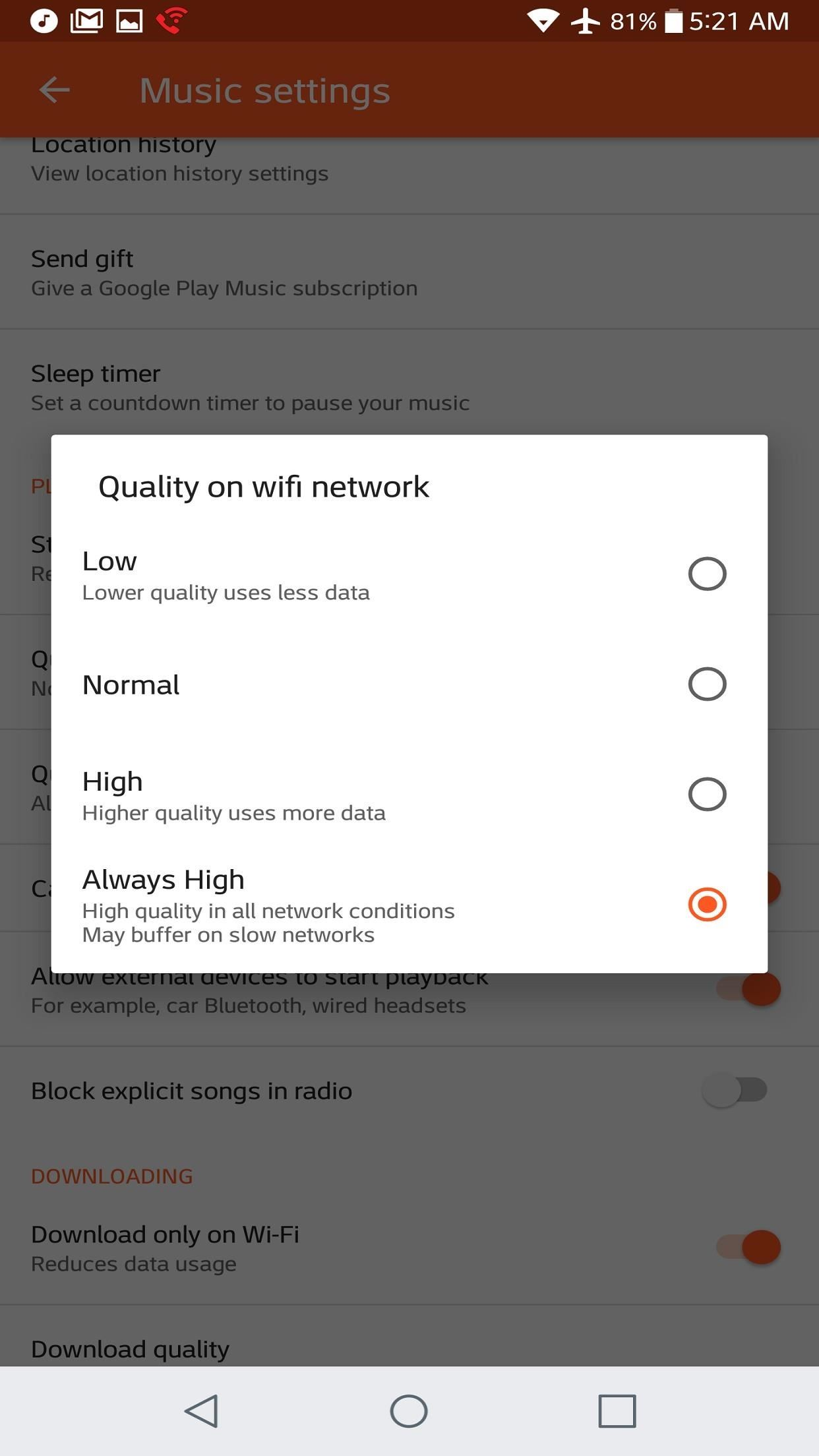 how to change the music quality in google music