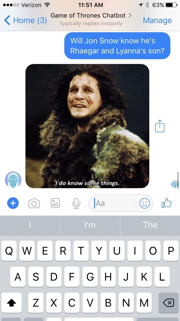 Use Facebook Messenger to Interrogate This Chatbot for Game of Thrones Spoilers