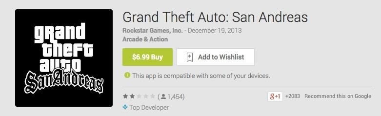 Grand Theft Auto: San Andreas Sucks Ass for Android... So Far