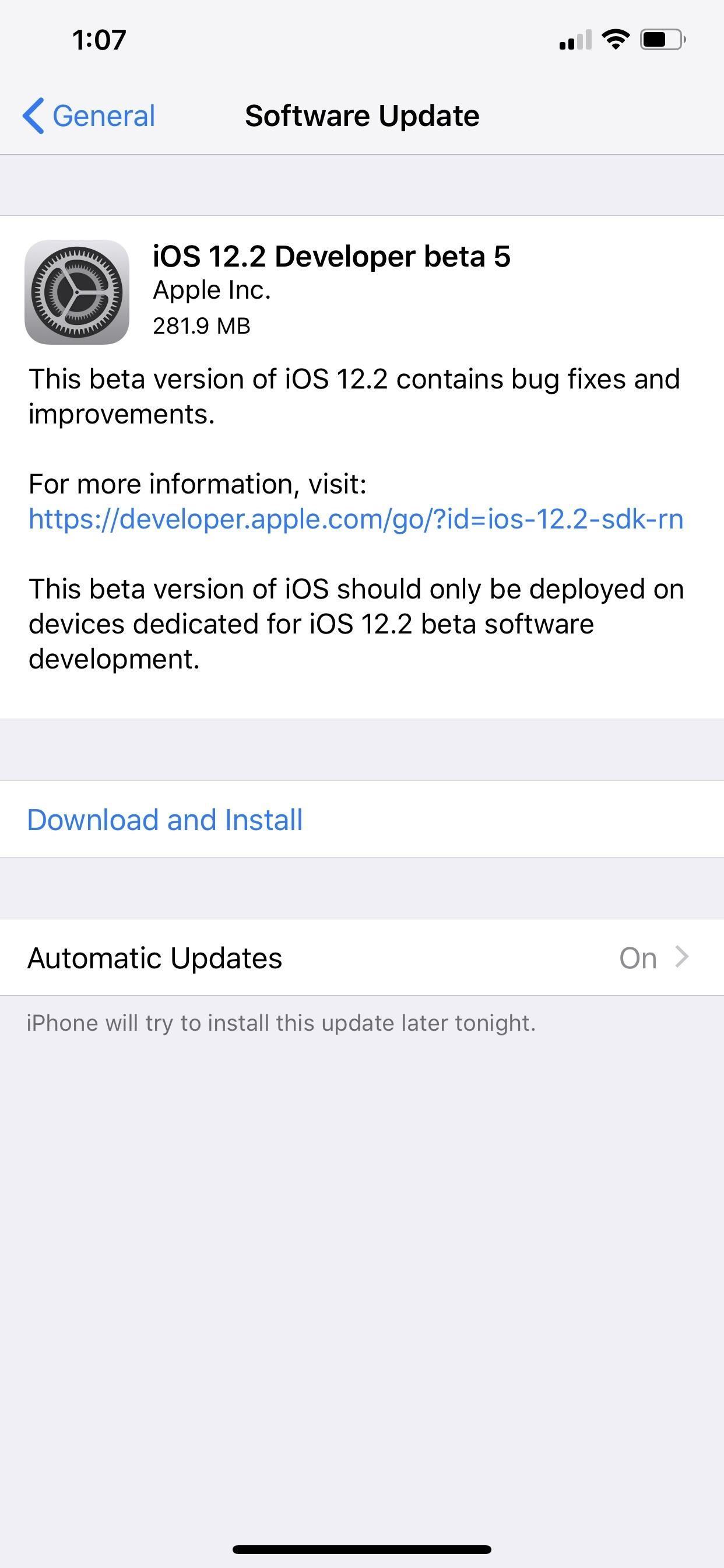 Apple just released iOS 12.2 Developer Beta 5 for iPhone to software tester