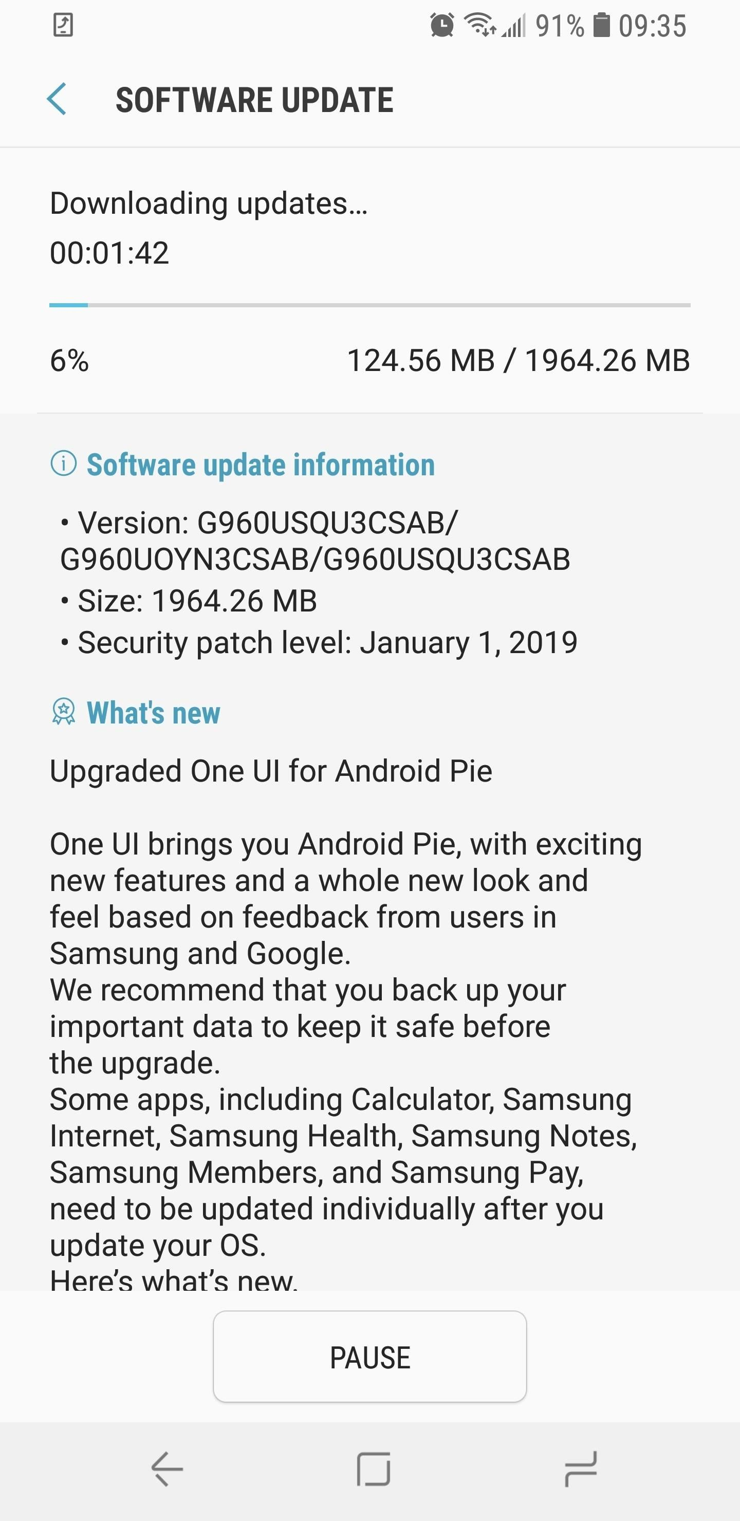 Official UI Update Rolling Out for Galaxy S9 in USA