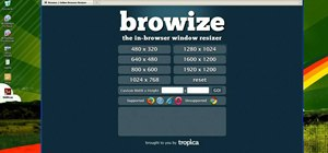Resize a web browser window with the Browize web app
