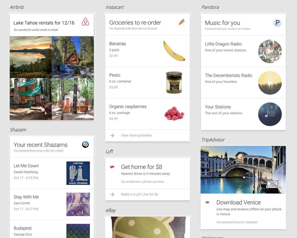 Google Now Adds Cards for Lots of Third-Party Apps