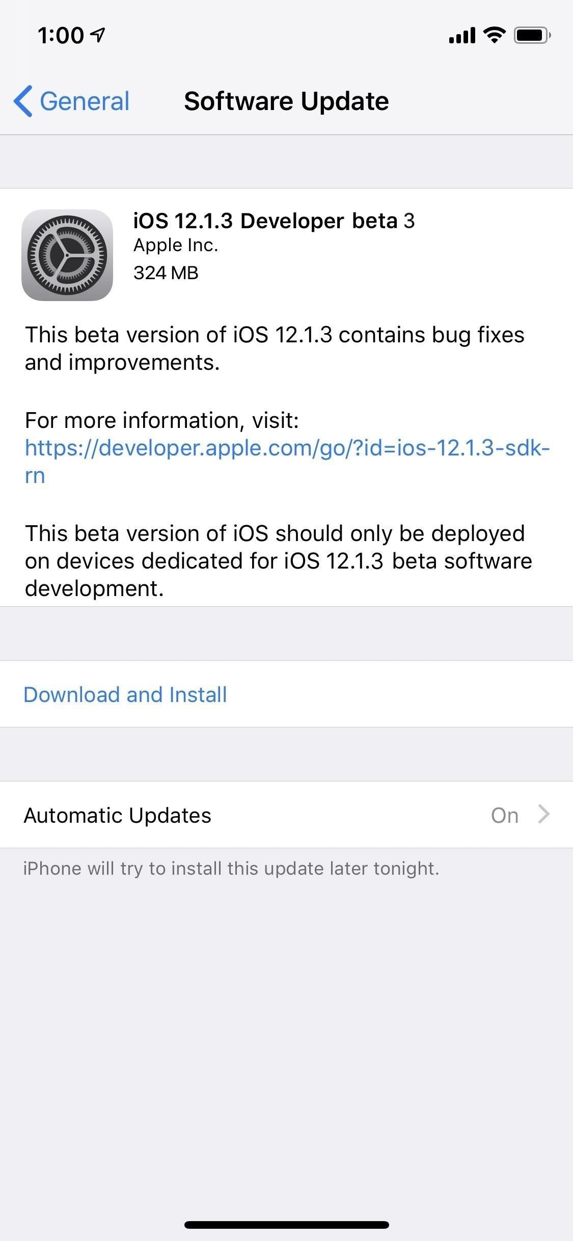 Apple has just released iOS 12.1.3 for developer Beta 3 for software testers.