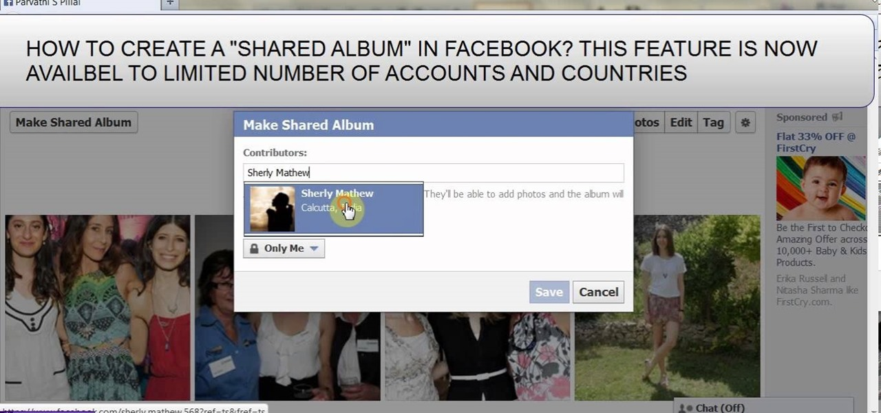 Make a Shared Album on Facebook