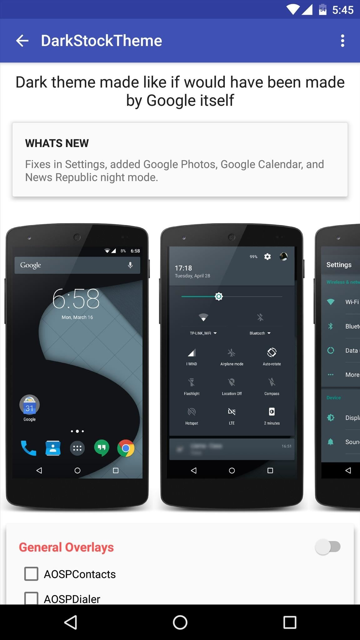 How to get android nougat features on your phone right now android one theme that almost perfectly replicates android nougats night mode is called darkstocktheme and it can be purchased for 120 if youd like to get an voltagebd Images