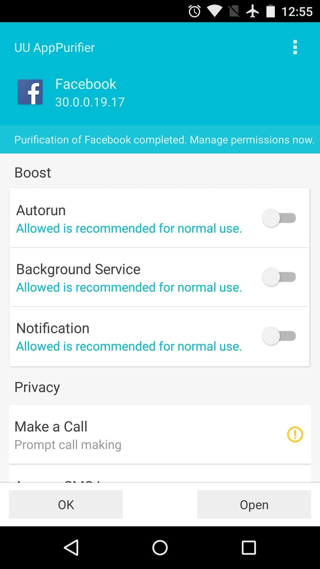 hold a background process or post new notifications beneath these options you can revoke privacy related permissions just select a permission