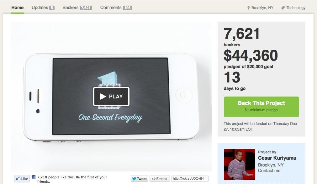 Remember Your Life One Second at a Time with the Upcoming 'One Second Everyday' App for iPhone