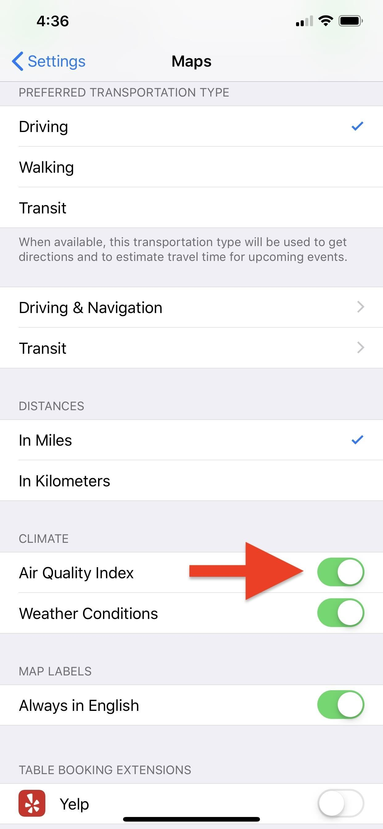 Viewing air quality in Apple Maps to see how polluted cities and destinations are