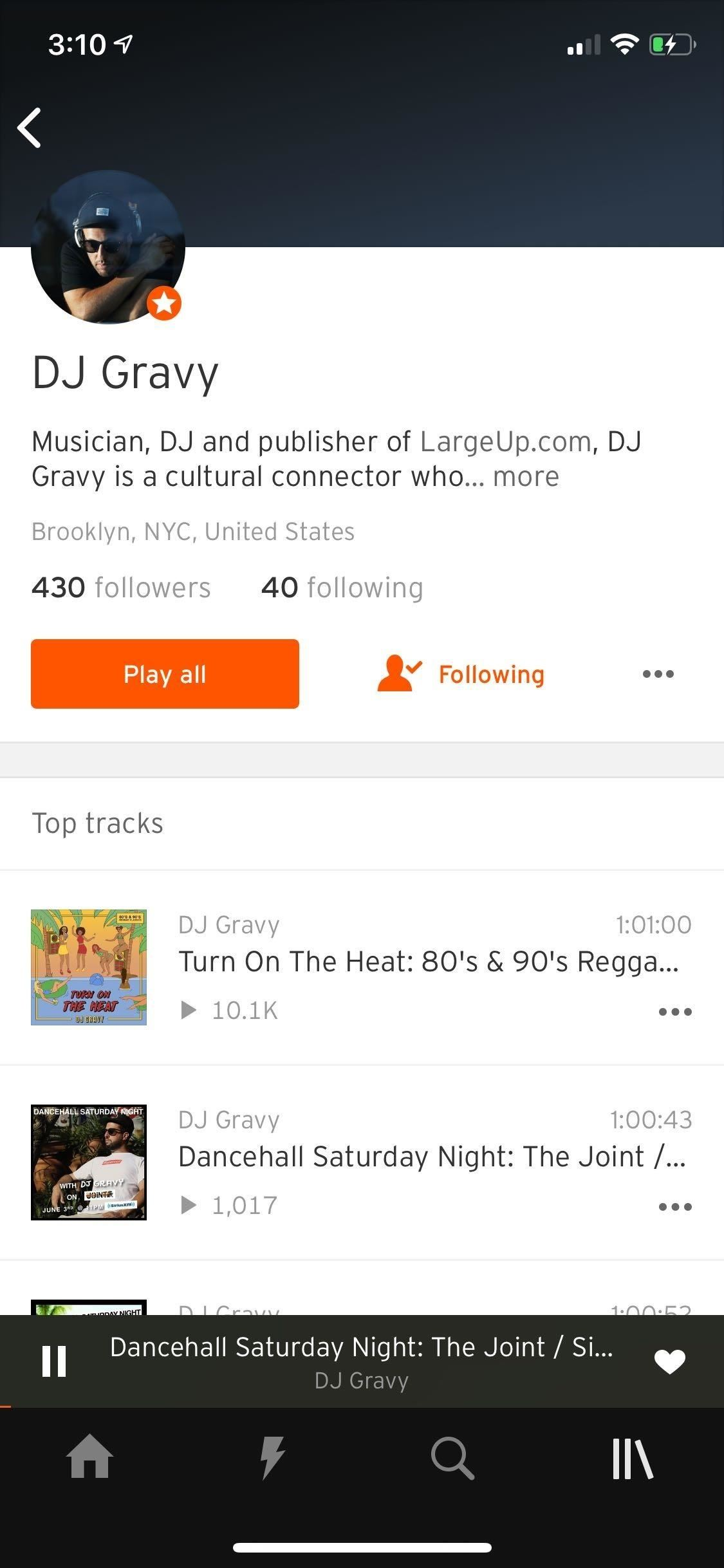 Create a station in SoundCloud to discover new artists and songs.