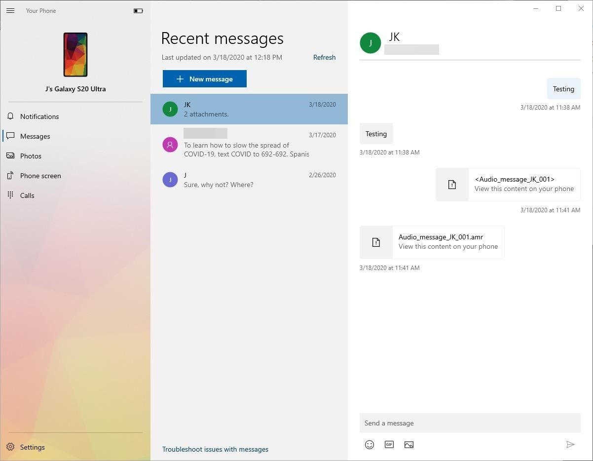 Enable the Built-in Windows Integration on Your Galaxy S20 to Text from Your PC & More