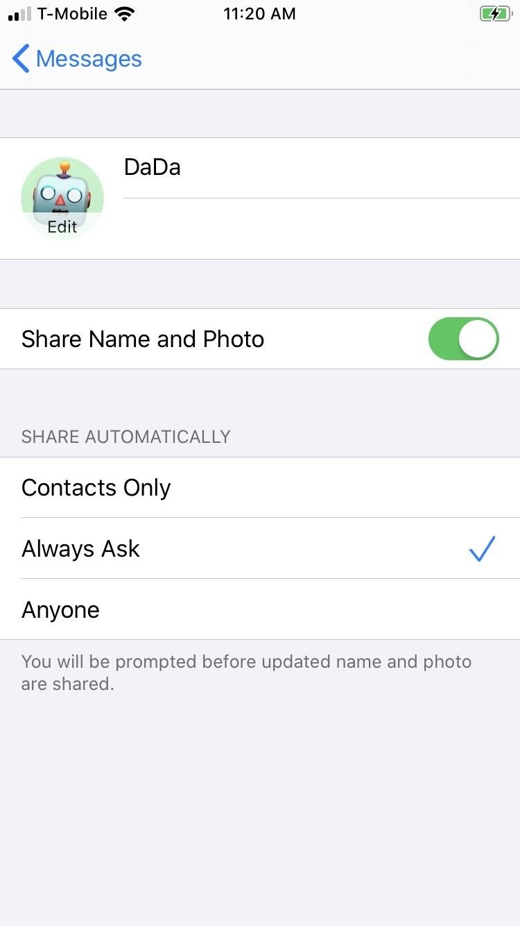How to Change Your Profile Picture & Display Name for iMessage in iOS 13