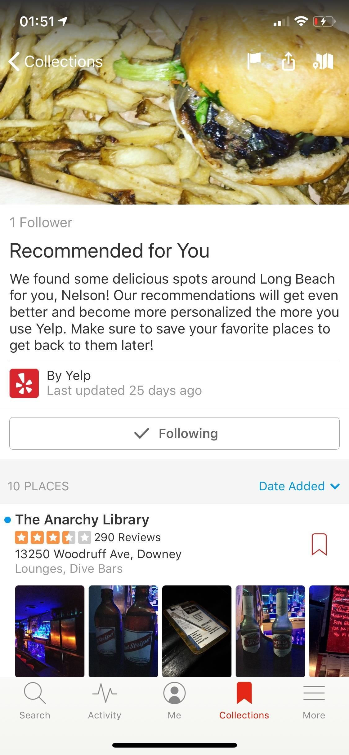 . Use Yelp collections to find new places and organize your bookmarked locations more.