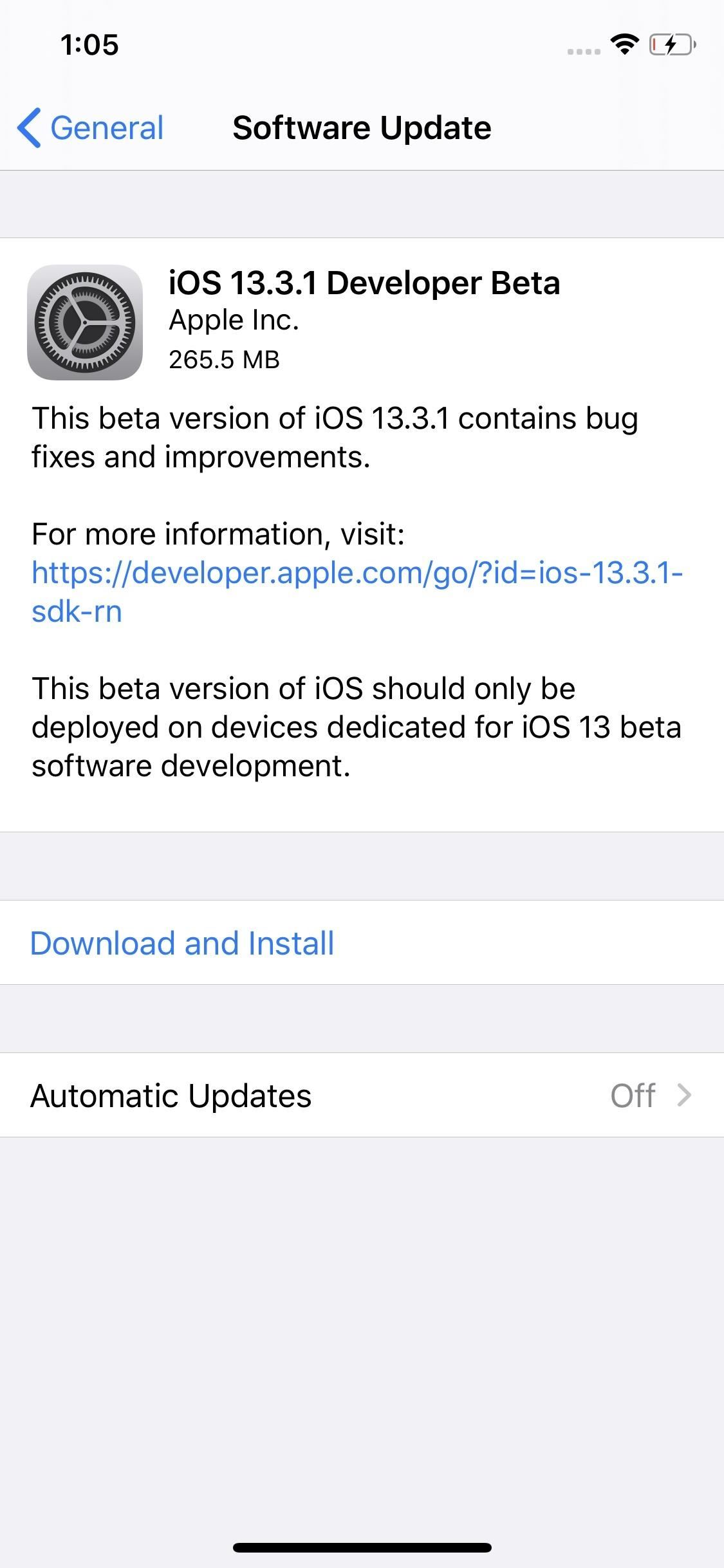 Apple Releases iOS 13.3.1 Developer Beta 1 for iPhone