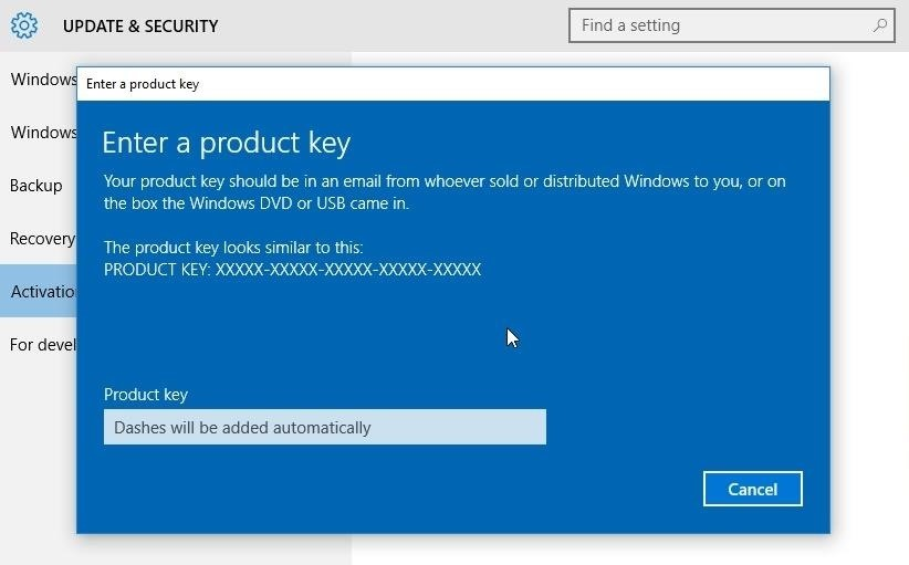 where is the activation key for windows 10