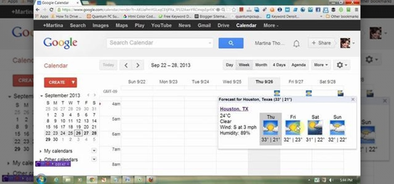 Display Weather Information in Google Calendar
