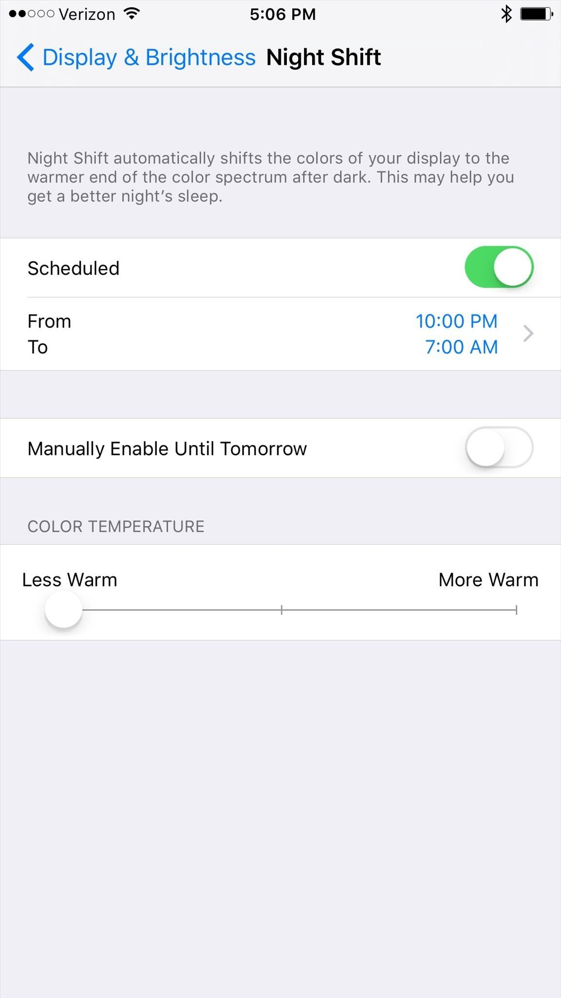 how to enable night shift mode to prevent your iphone from for most the sunset to sunrise option will suffice but if you keep irregular hours the custom schedule option allows you to activate night shift at