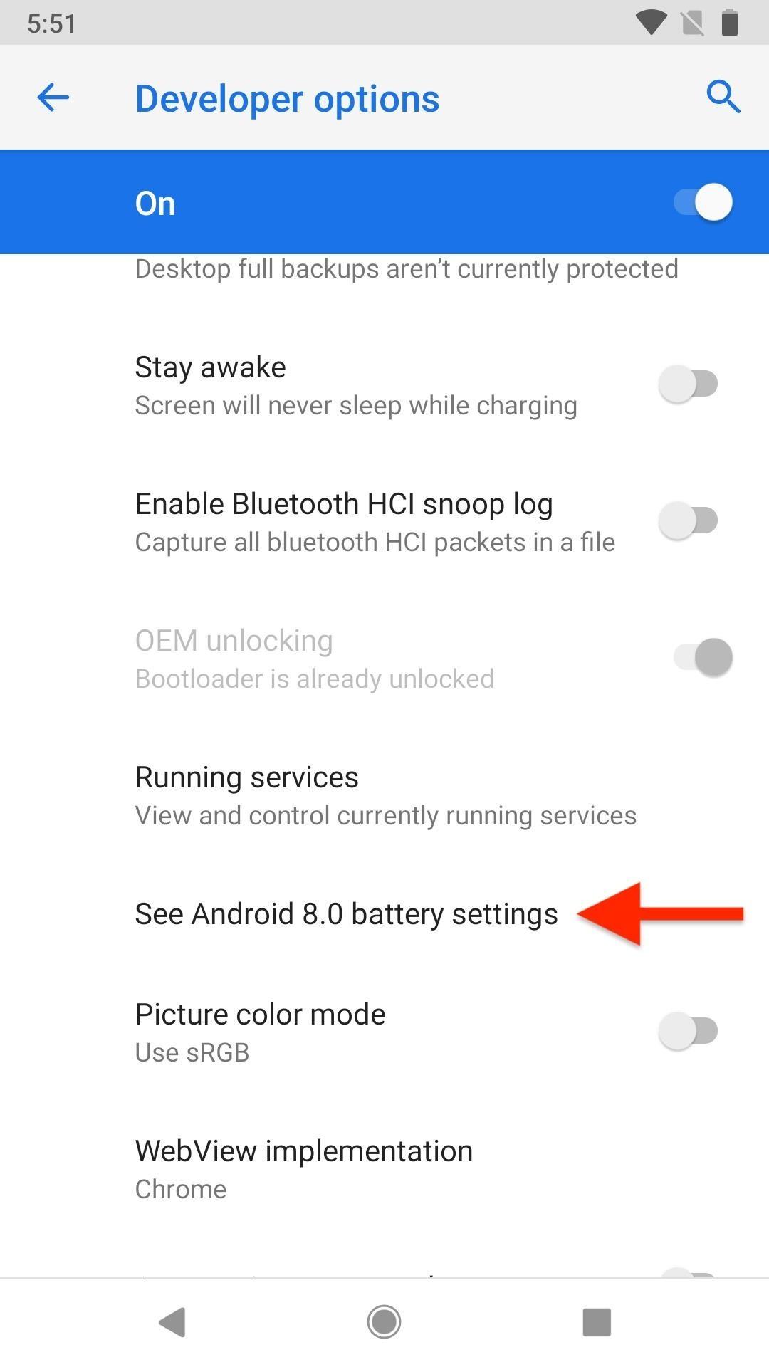 Cách lấy lại menu pin Oreo trên Android Pie