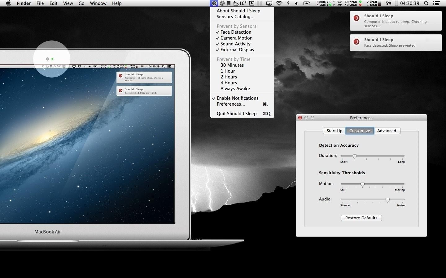 How to Keep Your Mac's Display from Dimming on You While You're Reading Using Audio and Voice Detection