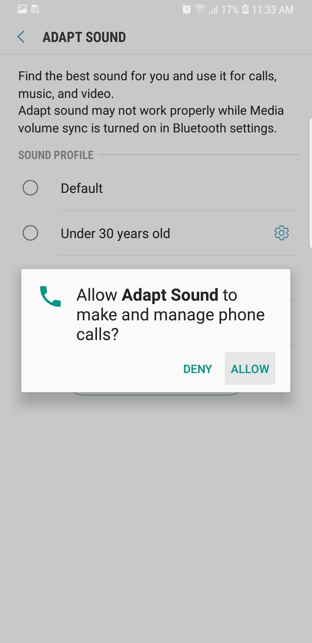 The Galaxy S9s Adapt Sound Feature Makes Your Akg Earbuds Earphone Wiring Diagram Youll Be Asked To Grant Phone Call Related Permissions So Tap Allow On Prompt Within Leave Available Age Based Profiles