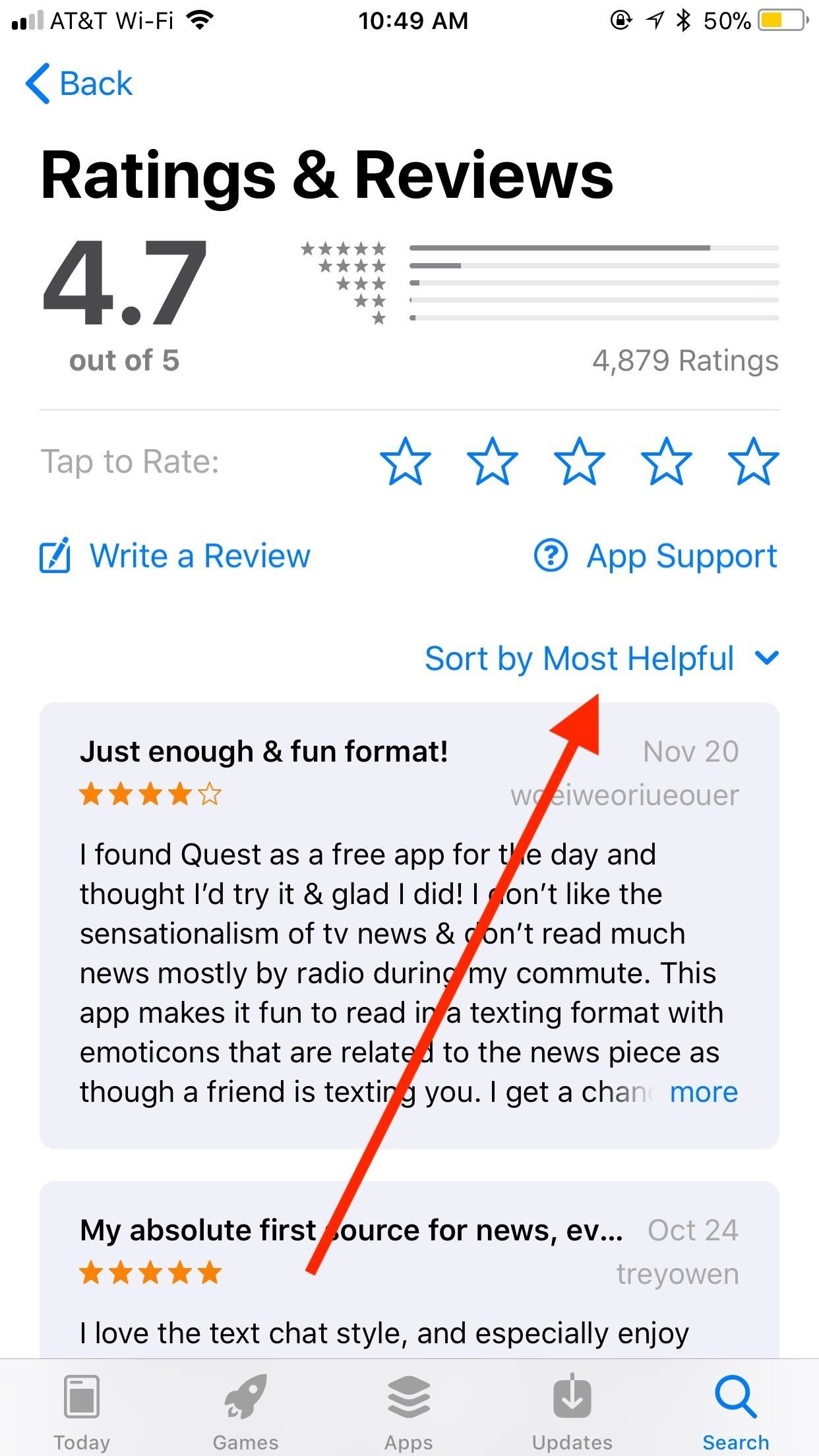 How to Sort App Store Reviews on Your iPhone in iOS 11.3