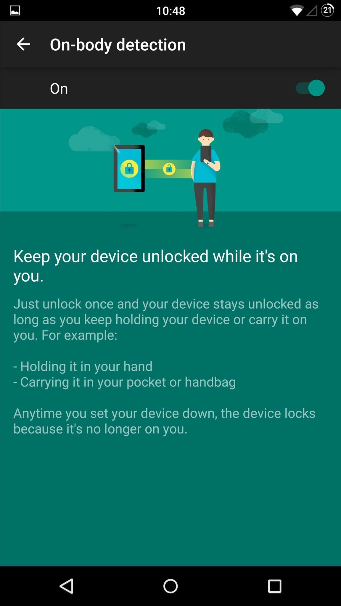 Lollipop's 'On-Body Detection' Smart Lock Keeps Your Android Unlocked While You're Moving