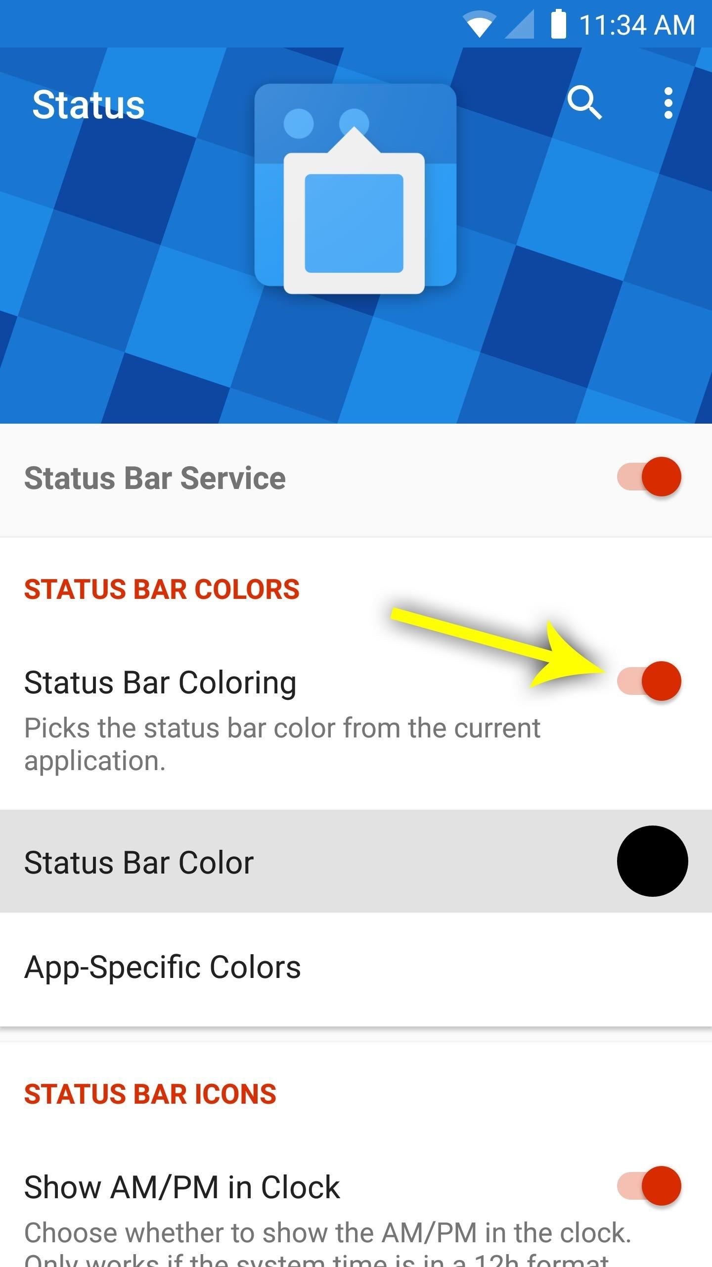 Give Your Status Bar Stock Android's Material Design Icons & Matching Colors