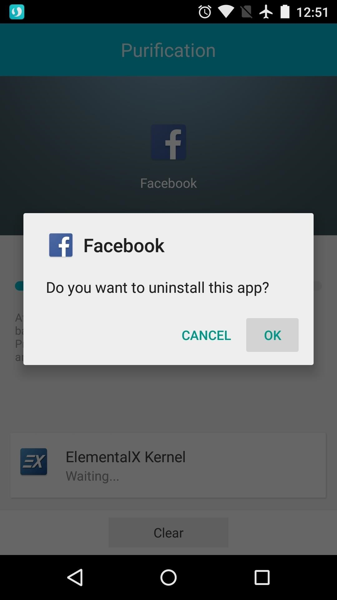 Uninstall facebook app
