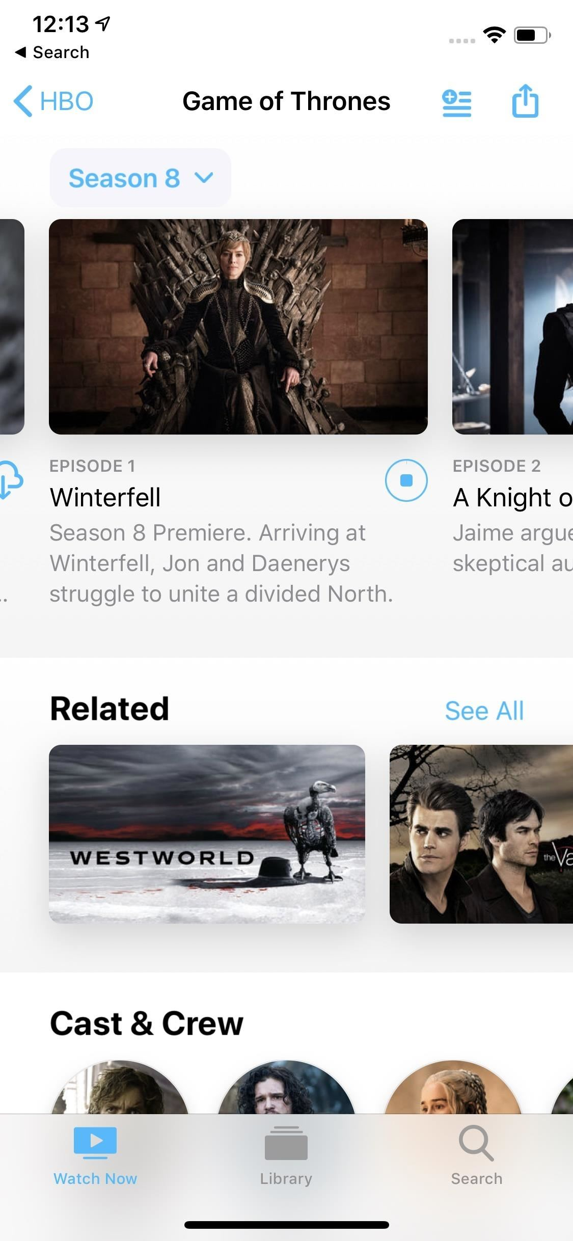 "How HBO is displayed offline on your iPhone for ""Game of Thrones"" - Anytime"