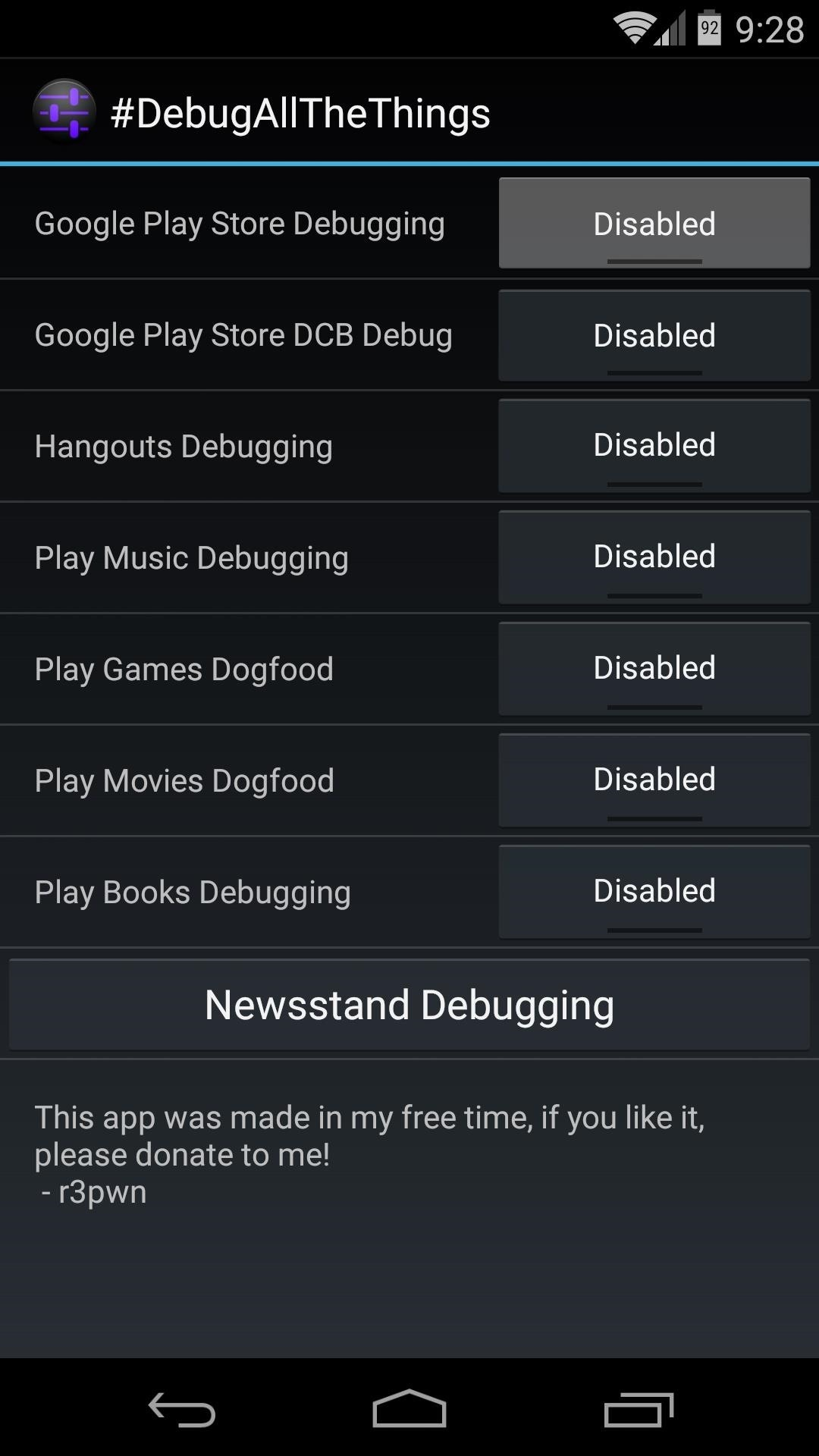 How to Enable the Hidden Debug Options for Select Google Apps on Your Nexus 5