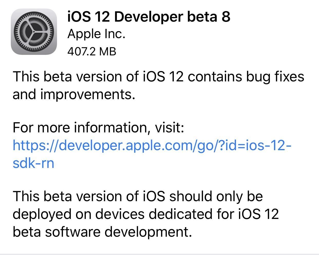 iOS 12 Beta 8 Released for Apple Developers