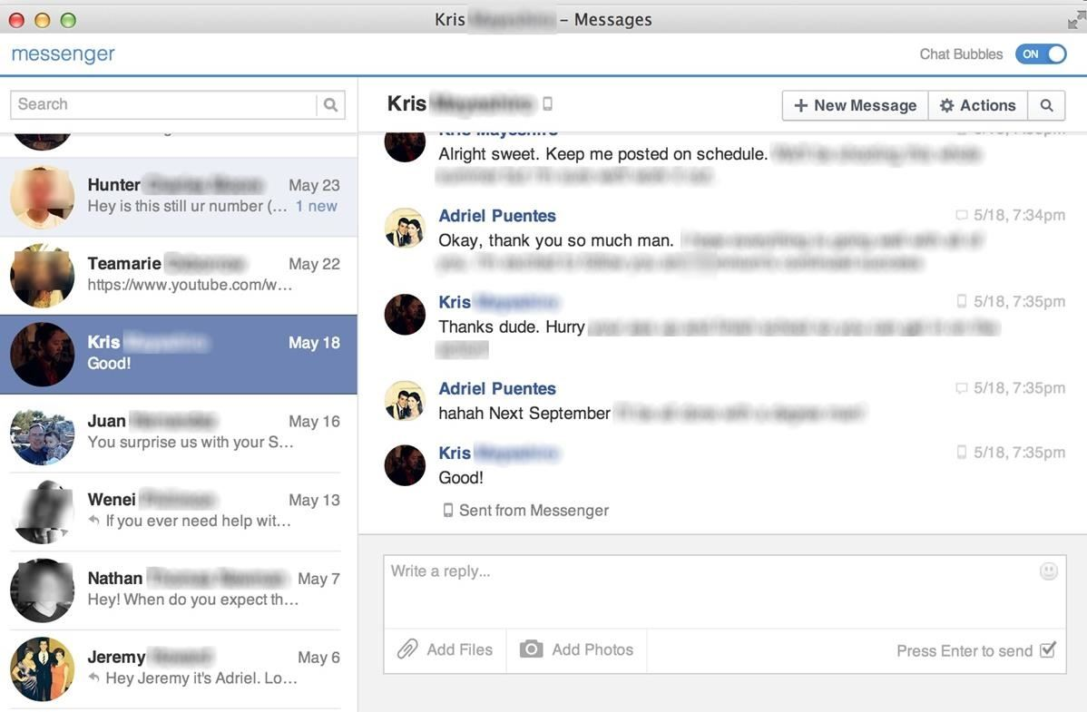 how to clear messages on facebook messenger on computer