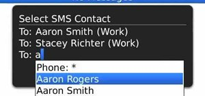 Send an SMS text message to multiple recipients on a BlackBerry phone